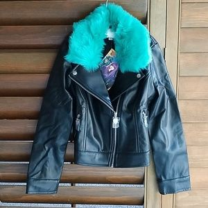 Black pleather kids jacket size 7-8 small